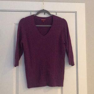 Merona large purple 3/4 sleeve sweater